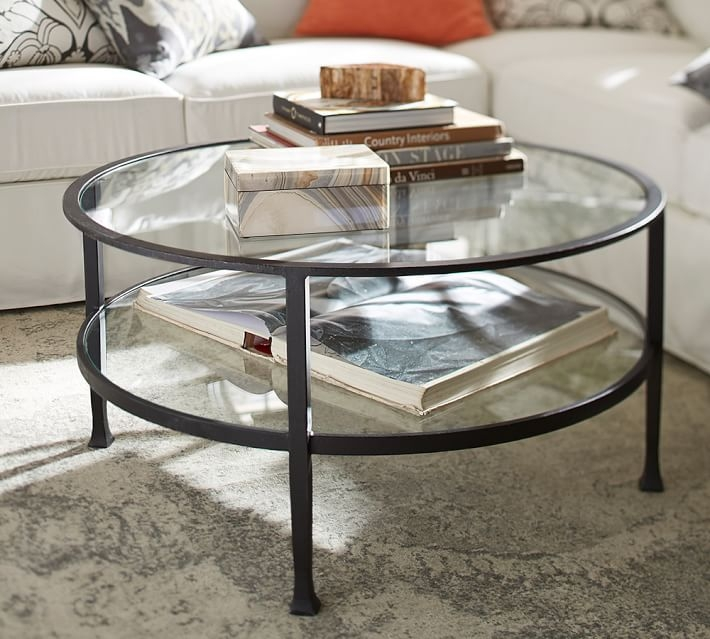 Innovative Wellknown Circular Glass Coffee Tables Throughout Tanner Round Coffee Table Bronze Finish Pottery Barn (Image 28 of 50)