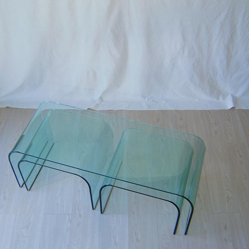 Innovative Wellknown Curved Glass Coffee Tables Throughout Curved Glass Panca Coffee Tables Vittorio Livi For Fiam Set Of (Image 33 of 50)