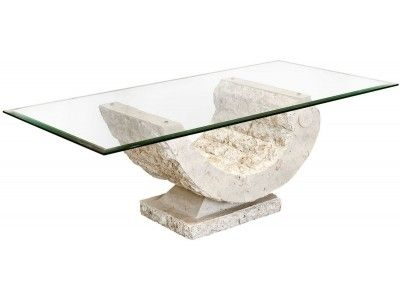 Innovative Wellknown Glass And Stone Coffee Table Regarding Febland Coral Coffee Table Carved Stone Base With A Tempered (Image 29 of 50)