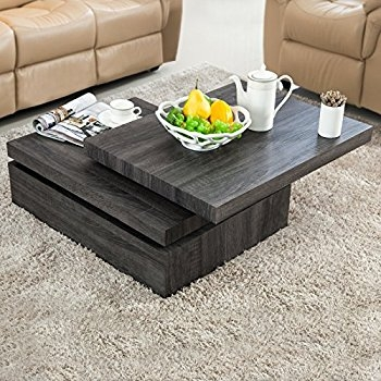 Innovative Well Known Grey Wood Coffee Tables Inside Amazon Lenox Oval Mod Rotating Wood Coffee Table Kitchen (Image 34 of 50)