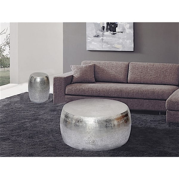 Innovative Well Known Metal Round Coffee Tables Pertaining To Marrakech Hammered Metal Round Coffee Table Free Shipping Today (View 39 of 50)