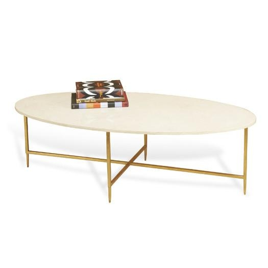 Innovative Well Known Oblong Coffee Tables Regarding Gaultier Oval Gold Tray Coffee Table (Image 30 of 40)