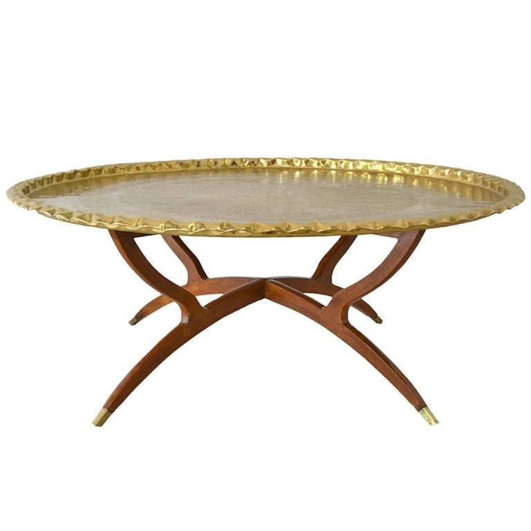 Innovative Well Known Round Tray Coffee Tables Within Mid Century Round Brass Tray Top Coffee Table For Sale At 1stdibs (Image 34 of 50)