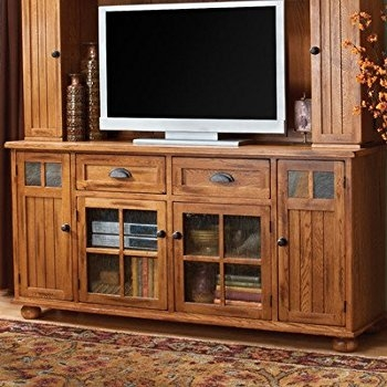 Innovative Well Known Rustic Oak TV Stands Within Amazon Santa Fe 72 Tv Stand Finish Rustic Oak Kitchen Dining (View 19 of 50)
