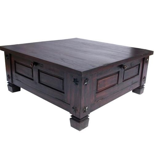 Innovative Well Known Solid Oak Coffee Table With Storage Regarding Russet Solid Wood 4 Doors Square Rustic Coffee Table With Storage (Image 31 of 50)