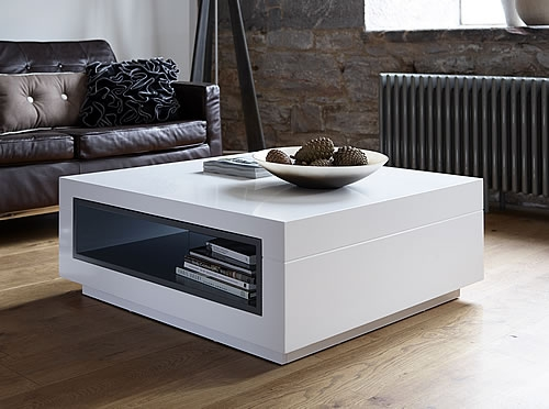 Innovative Well Known Square Coffee Tables With Storage Cubes Within Modern White Coffee Table (View 29 of 40)