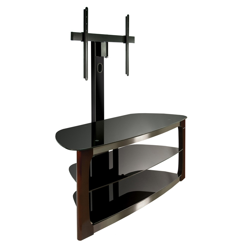 Innovative Wellliked Bell'O Triple Play TV Stands Intended For Bello 52 3 Shelf Tv Stand Dark Espresso With Brushed Nickel (View 6 of 50)