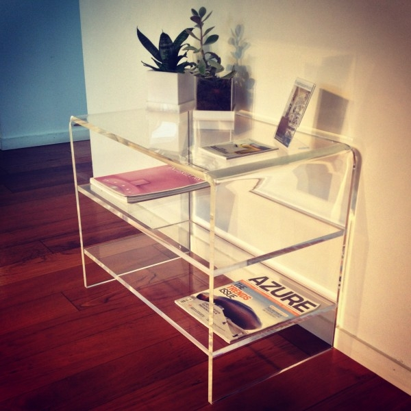 Innovative Wellliked Clear Acrylic TV Stands Regarding Modern Design Clear Acrylic Tv Stand With 2 Shelves Perspex End (Image 38 of 50)