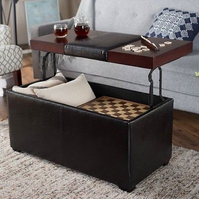 Innovative Wellliked Coffee Tables With Lift Top Storage Within Lift Top Storage Leather Coffee Table Ottoman Cocktail Black (View 39 of 50)