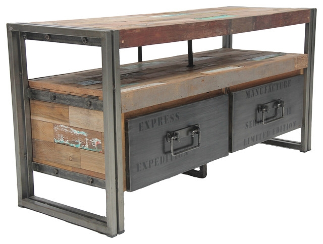 Innovative Wellliked Industrial Style TV Stands Within Salvaged Boat Wood Tv Console With 2 Drawers Samudra Style (Image 38 of 50)