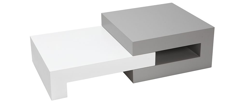 Innovative Wellliked Luna Coffee Tables In Luna Designer Extending Matte Grey And White Coffee Table Miliboo (View 2 of 40)