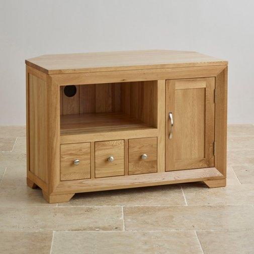 Innovative Wellliked Oak Corner TV Cabinets Inside Bevel Small Corner Tv Cabinet In Solid Oak Oak Furniture Land (Image 32 of 50)