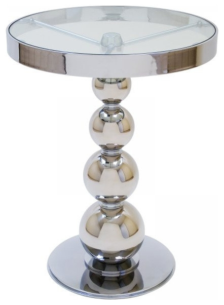 Innovative Wellliked Round Chrome Coffee Tables Throughout San Juan Round Glass Top Side Table Polished Chrome 26x20x (Image 32 of 50)
