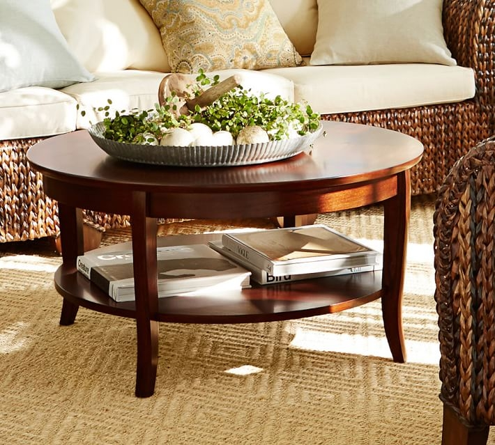 Innovative Wellliked Round Coffee Table Trays Within Chloe Round Coffee Table Pottery Barn (Image 37 of 50)