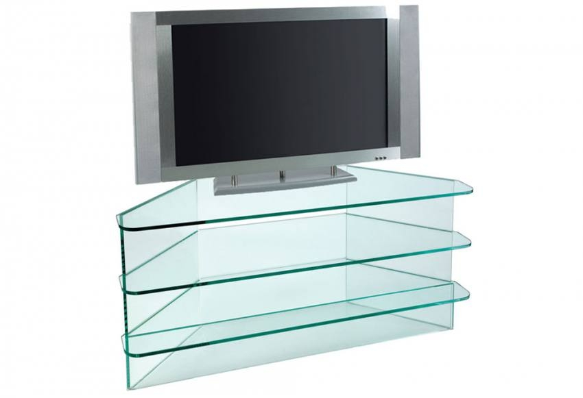 Innovative Wellliked Triangular TV Stands Pertaining To Greenapple Furniture Plasma Small Corner Tv Stand 10mm Clear (Image 30 of 50)