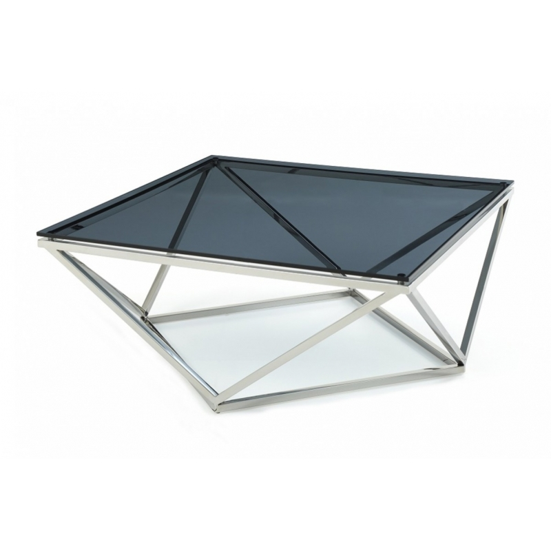 Innovative Widely Used Glass Steel Coffee Tables Pertaining To Modrest Vector Modern Smoked Glass Stainless Steel Coffee Table (Image 38 of 50)