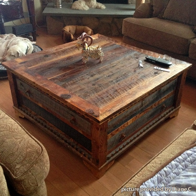 Innovative Widely Used Square Wooden Coffee Tables Regarding Square Reclaimed Wood Coffee Table Wb Designs (Image 31 of 50)