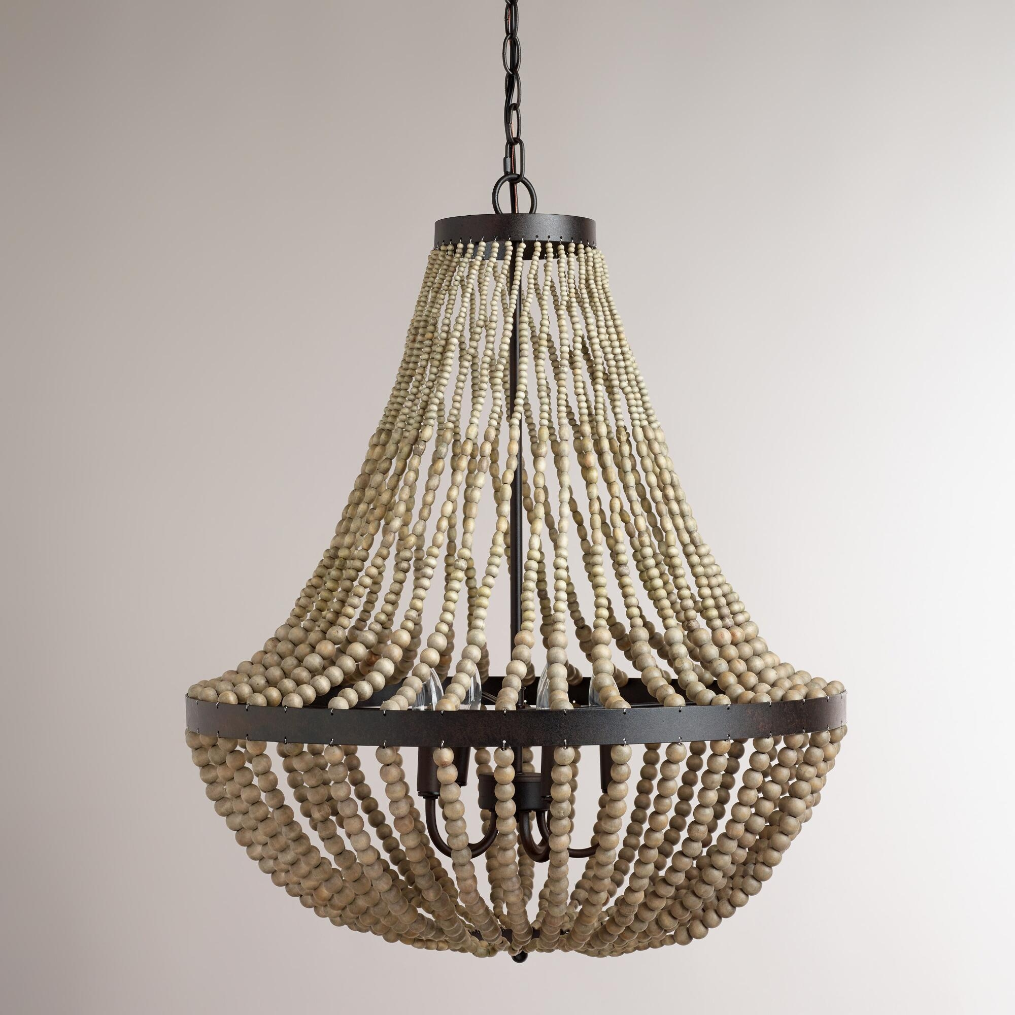 Interior Amazing Ceiling Light Wood Bead Chandelier For Home Inside Turquoise Wood Bead Chandeliers (Image 20 of 25)