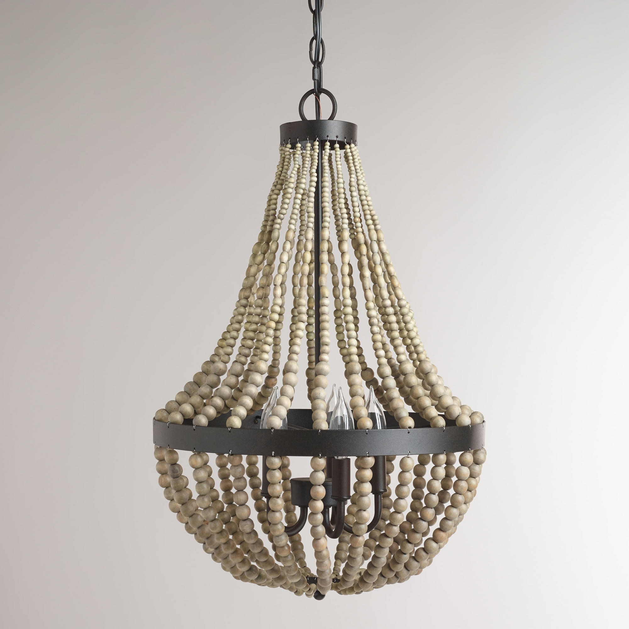 Interior Amazing Ceiling Light Wood Bead Chandelier For Home Regarding Small Turquoise Beaded Chandeliers (Image 20 of 25)
