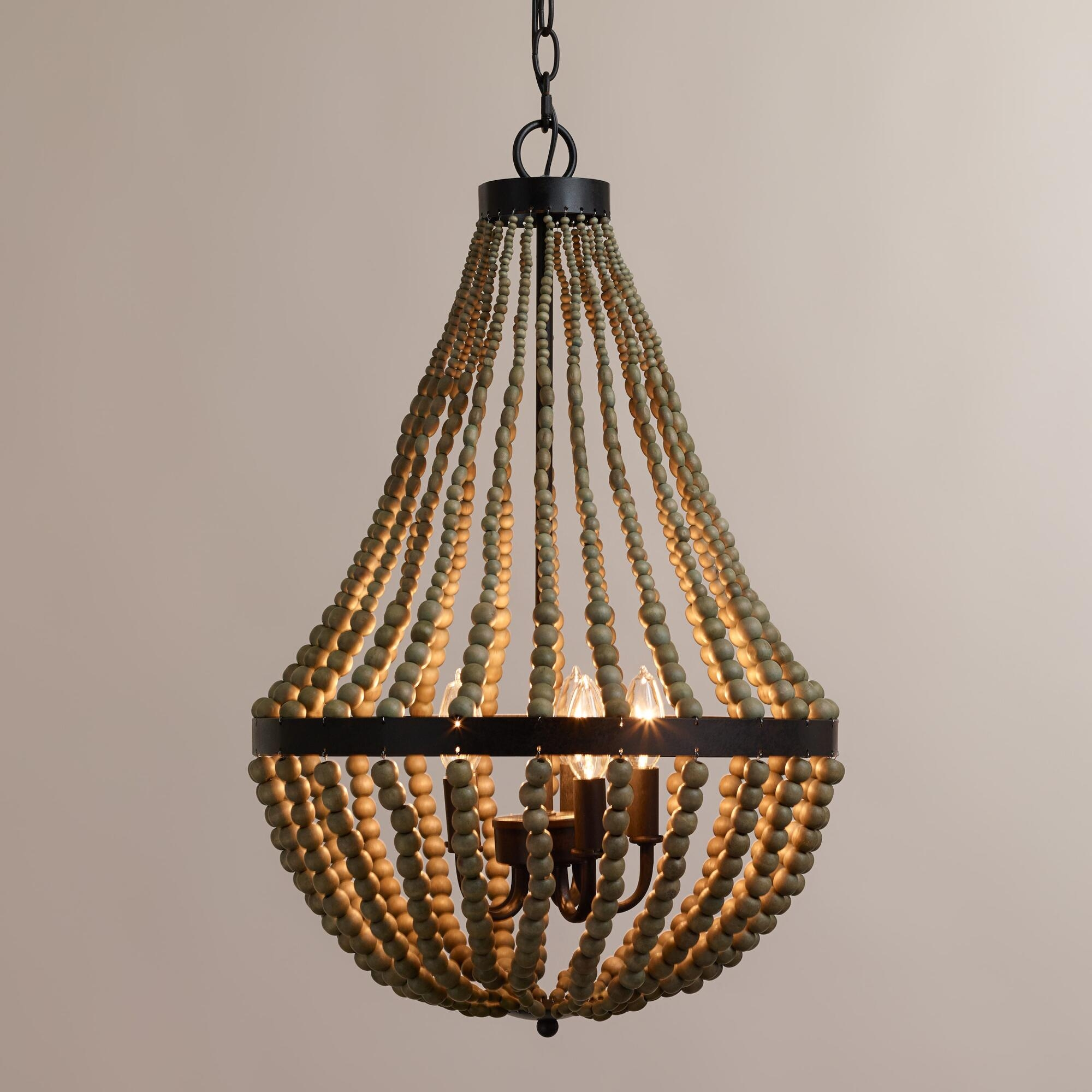 Interior Amazing Ceiling Light Wood Bead Chandelier For Home With Turquoise Wood Bead Chandeliers (Image 21 of 25)