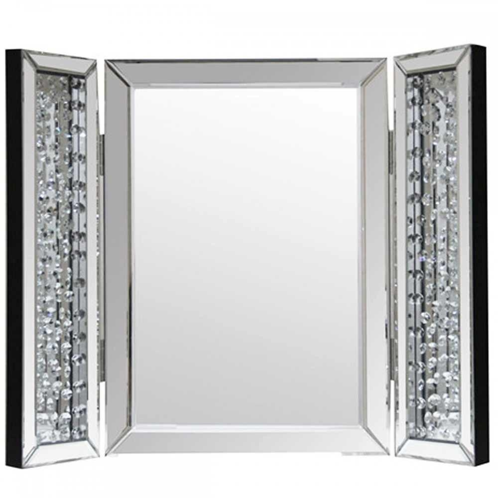 Interior: Gorgeous Pattern Poseidon Frame Trifold Mirror For Home With Regard To Mirror With Crystals (Image 13 of 20)