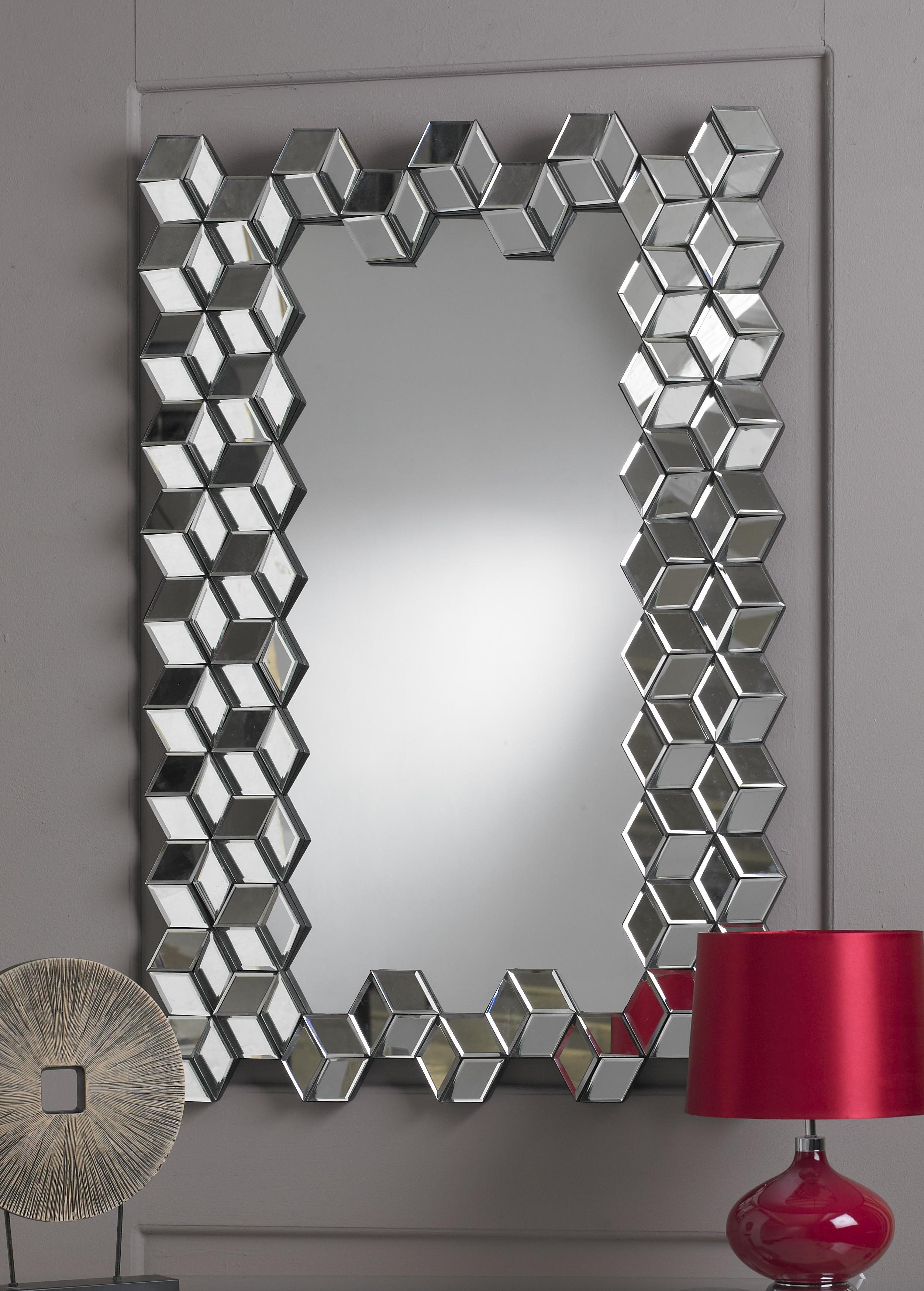 Interior: Red Table Lamp Chrome Vanity Wall Mirror (View 9 of 20)