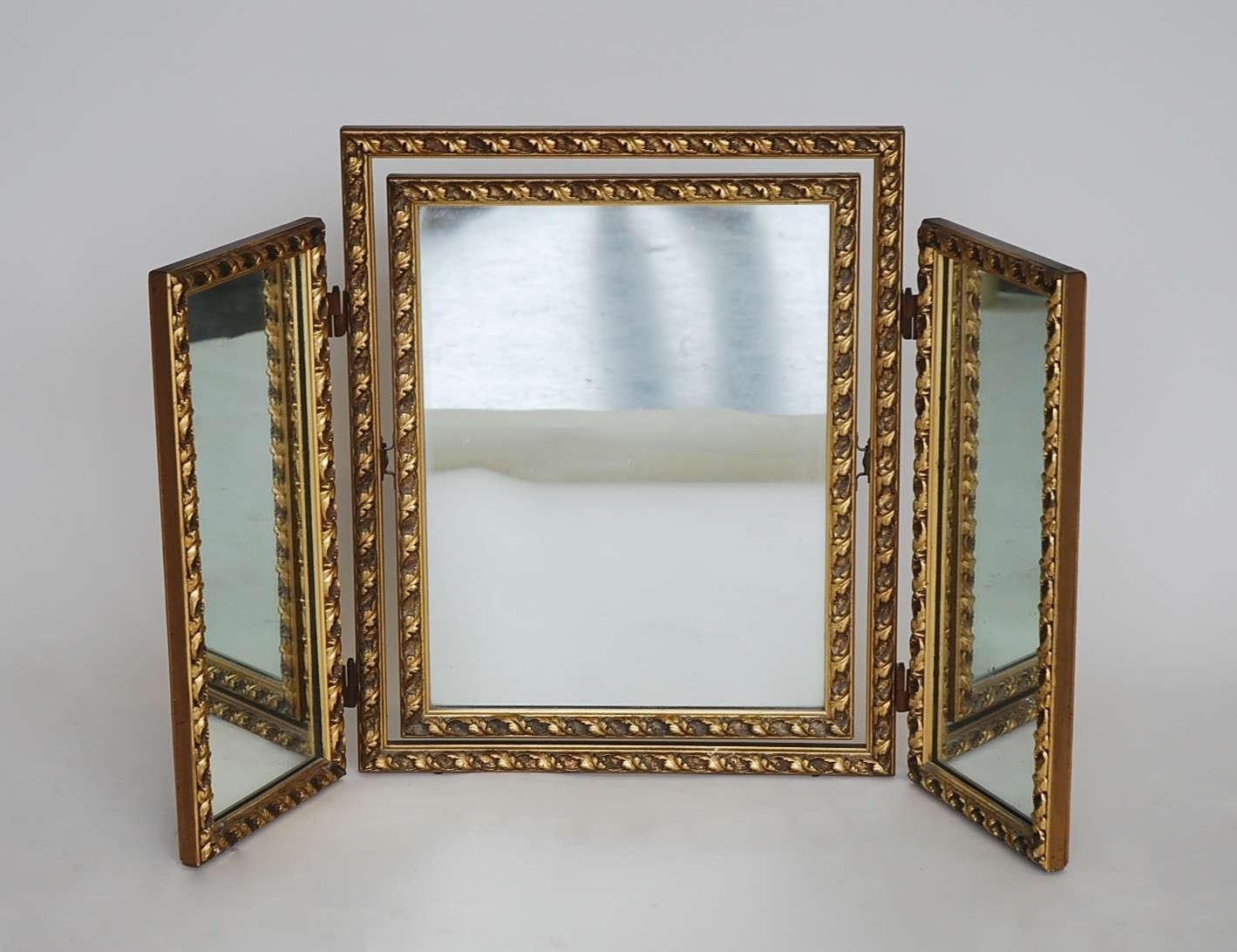 Interior: Stunning Three Way Vanity Mirror For Your Bedroom Stuff With Gold Dressing Table Mirror (Image 13 of 20)