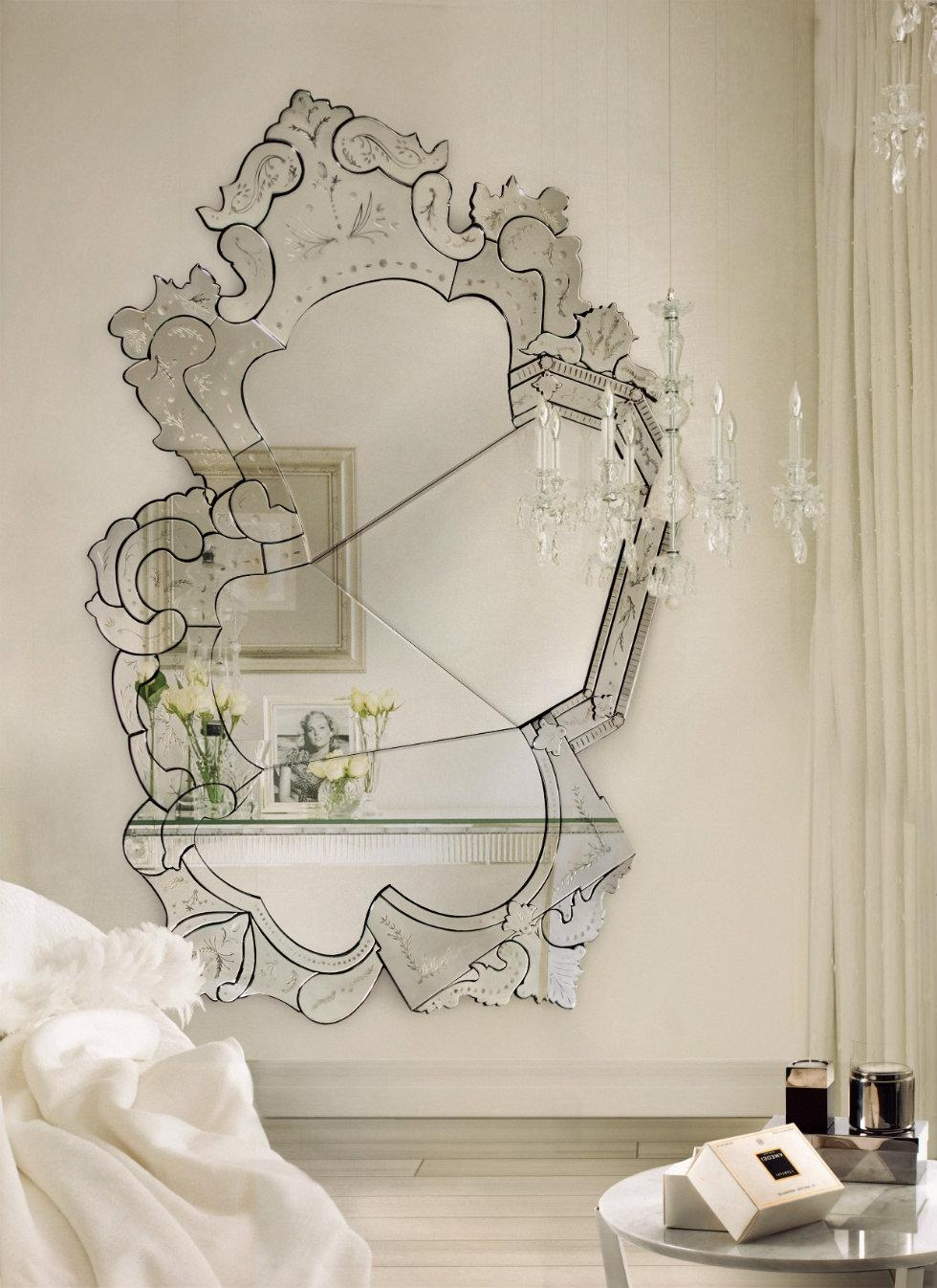 Interior: Vintage Venetian Mirror For Classic Interior Decor Inside Large Venetian Wall Mirror (Image 8 of 20)