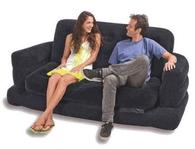 Intex Inflatable Pull Out Sofa & Queen Bed Mattress Sleeper Pertaining To Intex Sleep Sofas (Image 13 of 20)