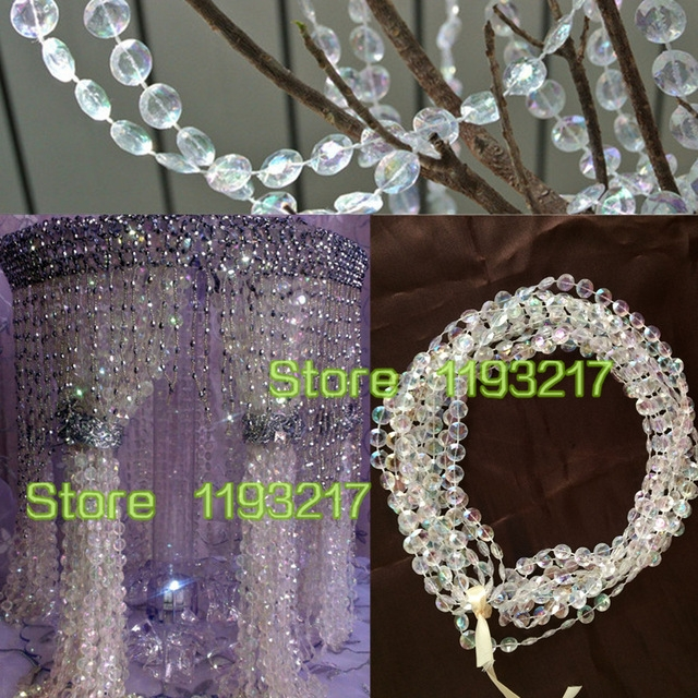 Iridescent 10mm 9m30ft Hanging Acrylic Faux Crystal Beaded For Faux Crystal Chandelier Wedding Bead Strands (Image 21 of 25)