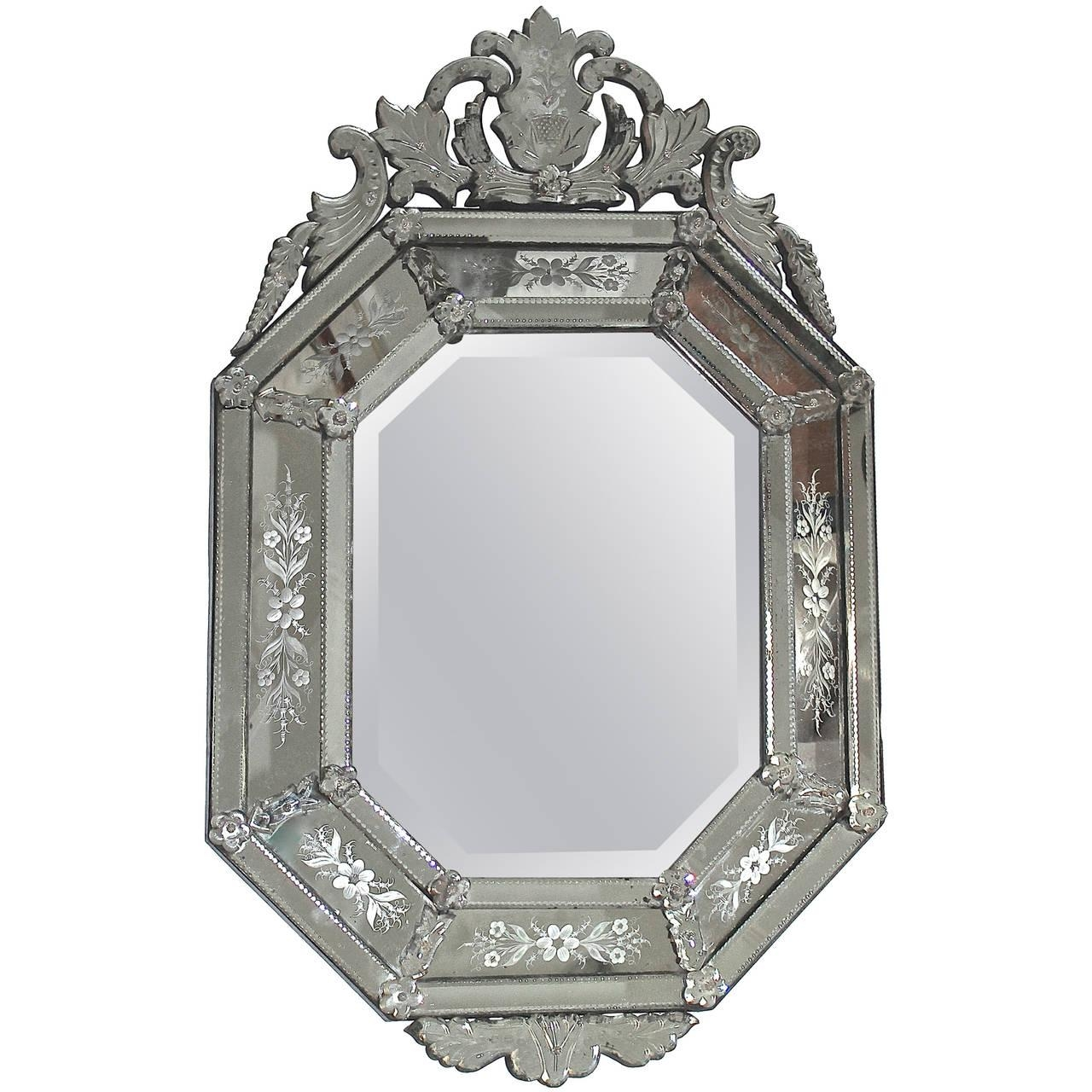 Italian Venetian Etched Glass Wall Mirror For Sale At 1Stdibs For Venetian Glass Mirrors Sale (View 9 of 20)