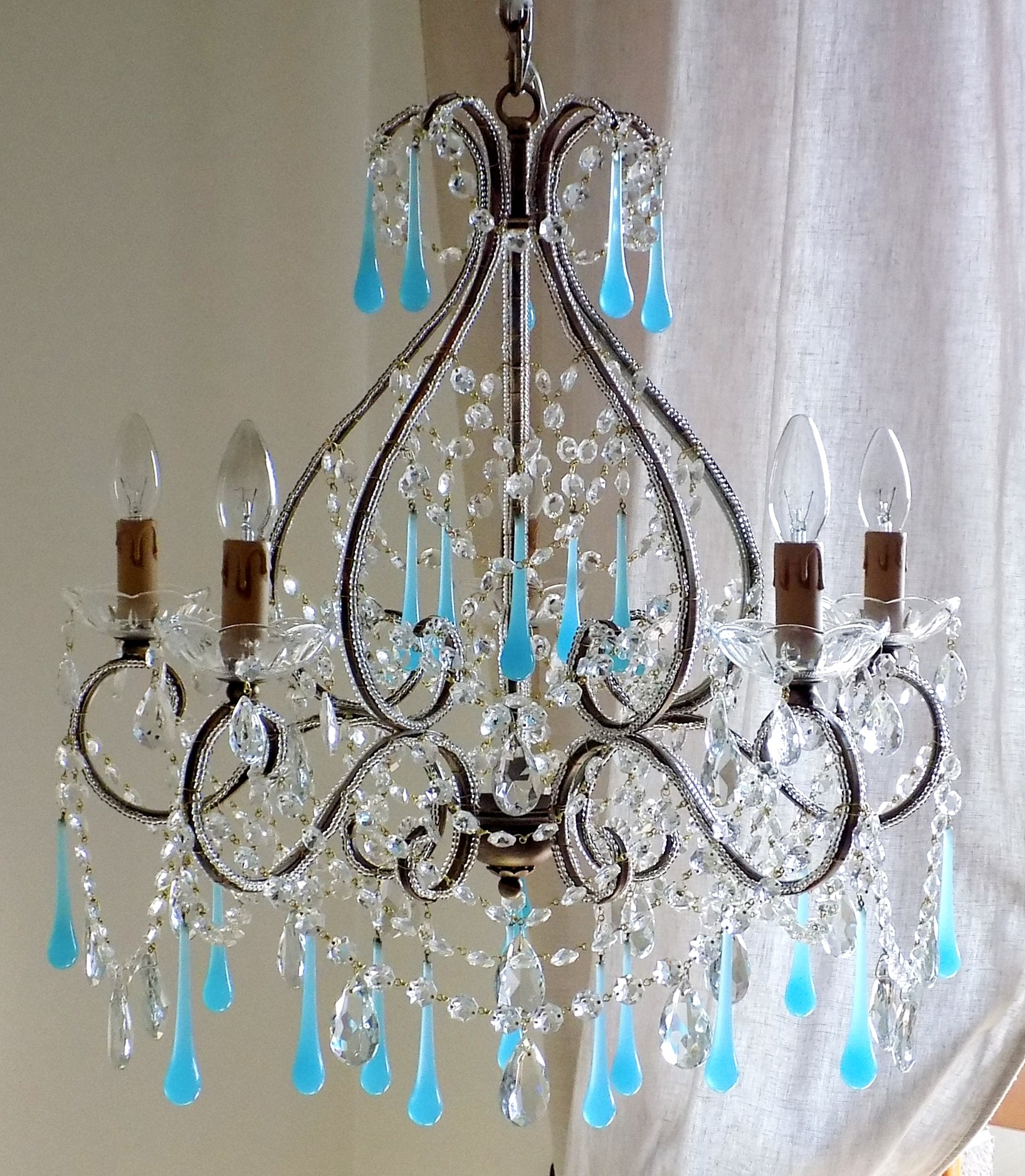 Italian Vintage 9 Arms Chandelier With Rare Shaped Crystals Pertaining To Turquoise Chandelier Crystals (Image 16 of 25)