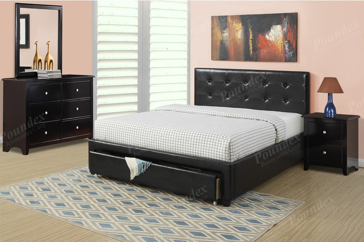 Item F9313Q: Queen Size Platform Bed Frame W/ Underbed Drawer In Black Faux Leather Mirror (View 14 of 20)