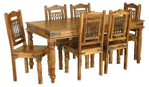 Jali 180Cm Sheesham Dining Table & 6 Chairs – Real Wood Furniture With Sheesham Dining Tables And Chairs (Image 9 of 20)