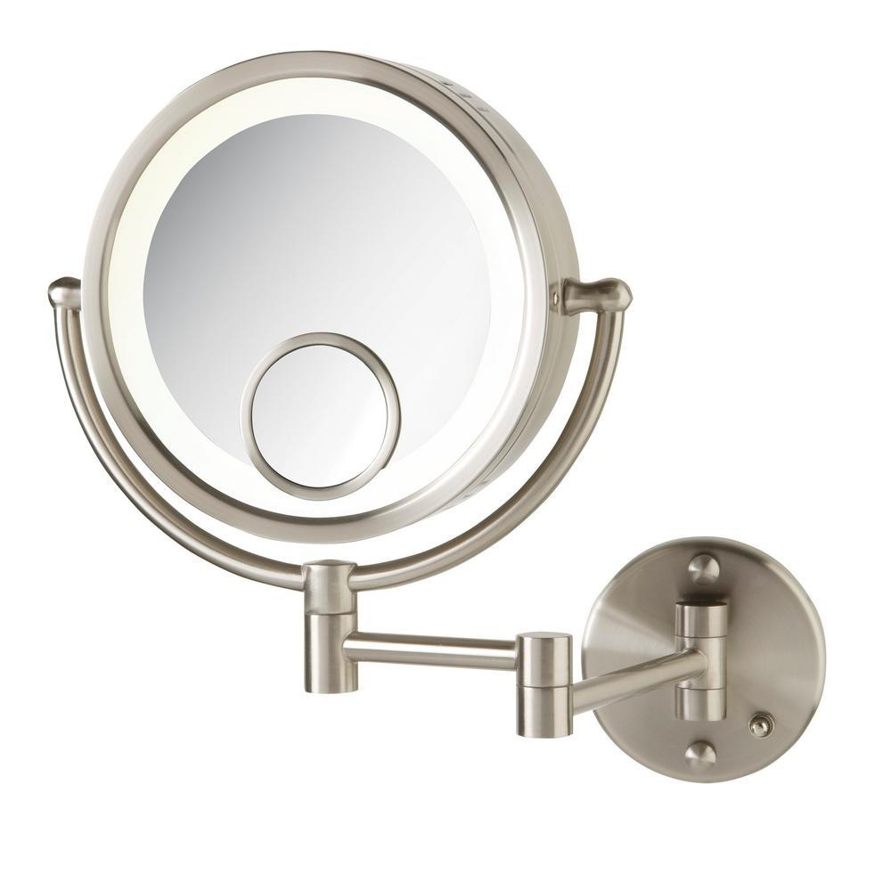 Jerdon 10.75 In. X 14 In. Lighted Wall Mirror In Chrome Hl8515N With Chrome Wall Mirror (Photo 1 of 20)
