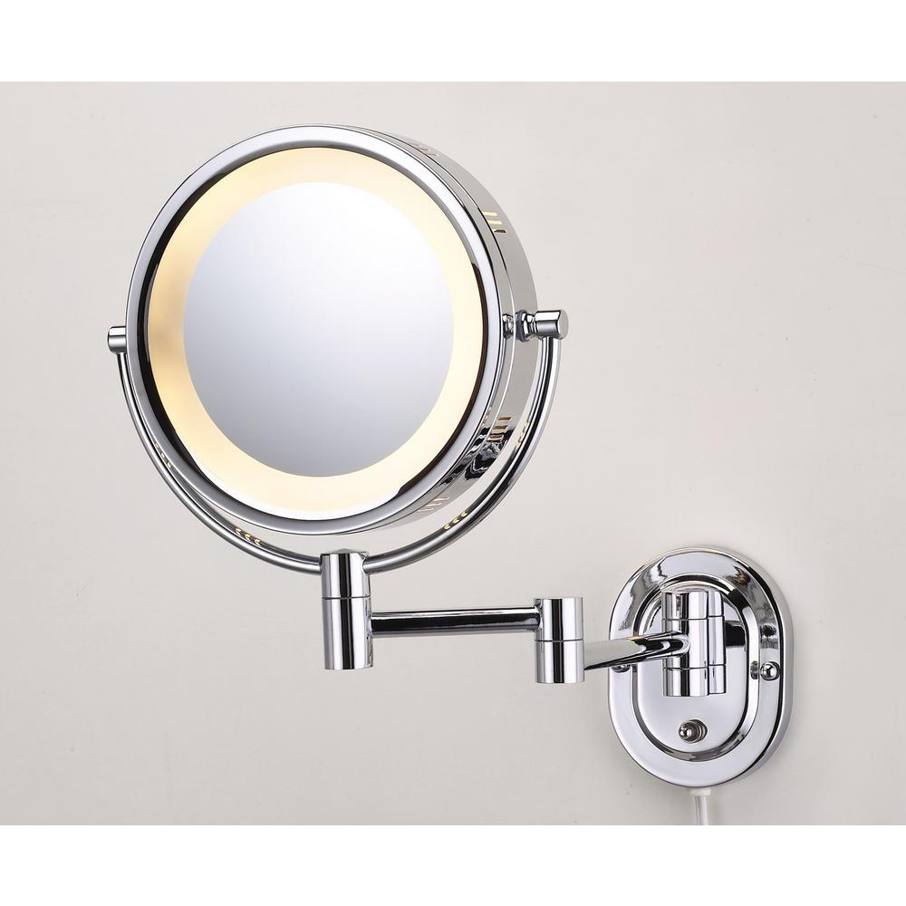 Jerdon 14.5 In. L X 9.75 In. W Lighted Wall Mirror In Chrome Hl65C For Chrome Wall Mirrors (Photo 20 of 20)