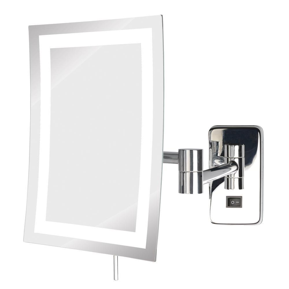 Jerdon 8 In. X 10.5 In. Led Lighted Wall Mirror In Chrome Throughout Chrome Wall Mirror (Photo 16 of 20)