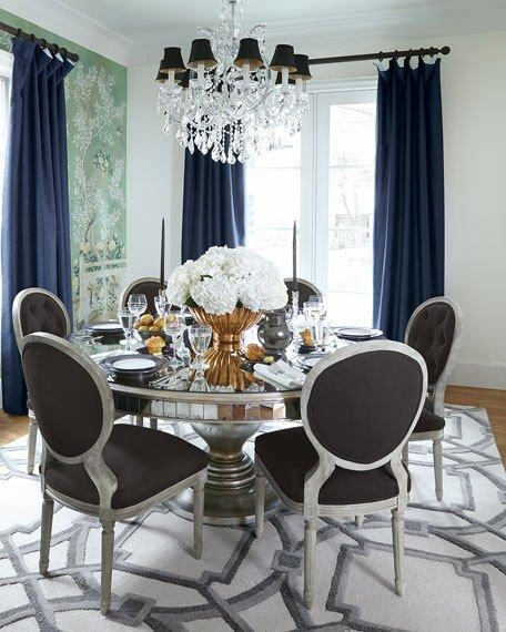John Richard Collection Lisandra Antqiued Mirrored Round Dining Table Intended For Mirrored Dining Tables (Image 8 of 20)