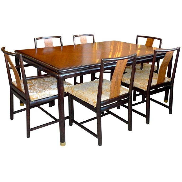 John Stuart Walnut And Mahogany Dining Table And Six Chairs For Within Dining Tables And Six Chairs (Image 14 of 20)