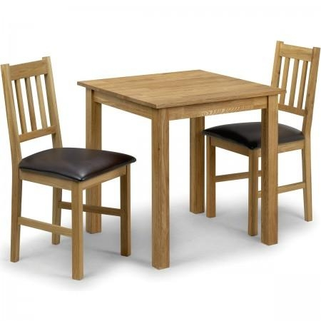 Julian Bowen Coxmoor 3 Piece Set (Square Table + 2 Chairs) – White Intended For Dining Tables And 2 Chairs (View 4 of 20)