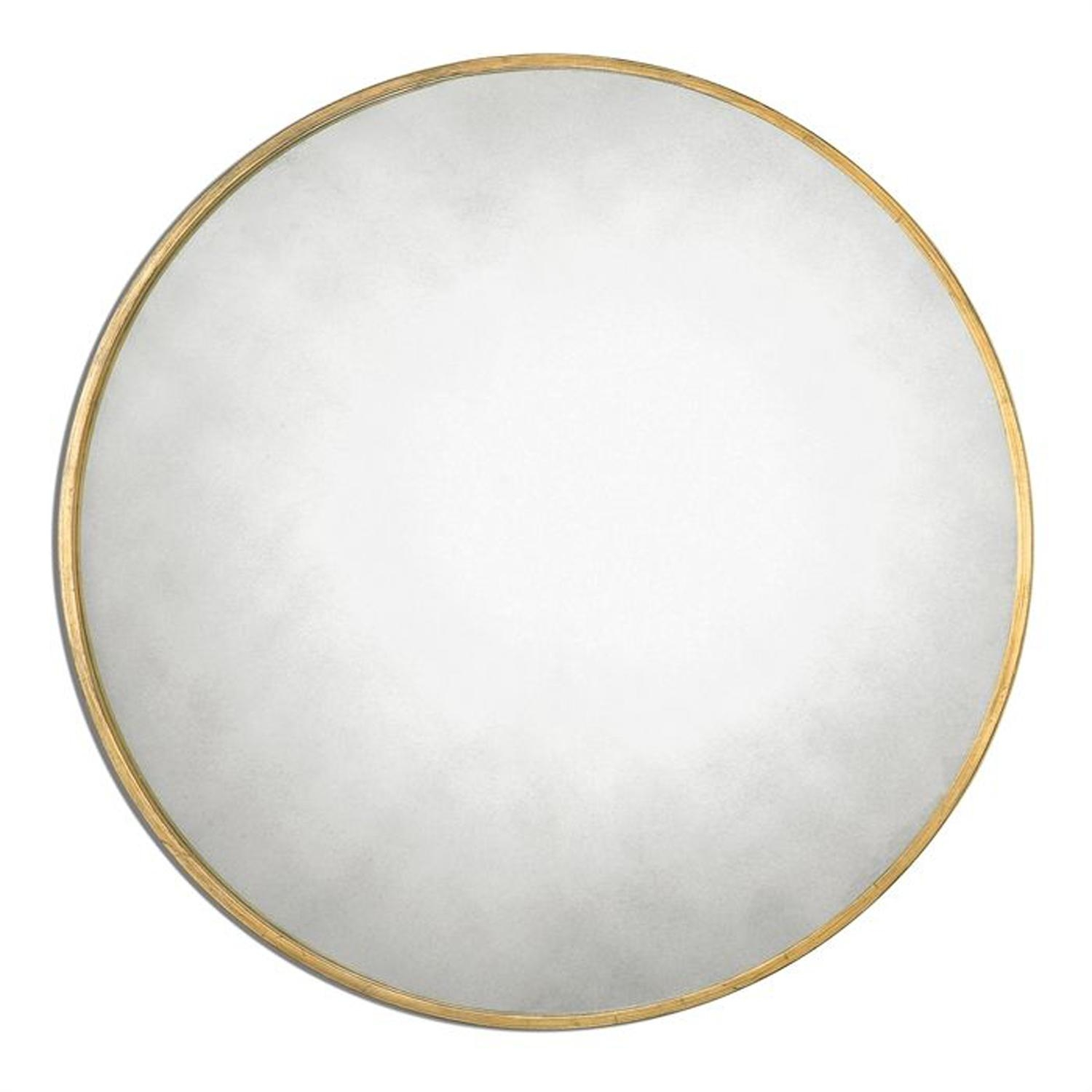 Junius Round Gold Round Mirror Uttermost Wall Mirror Mirrors Home Inside Antique Round Mirror (Image 8 of 20)
