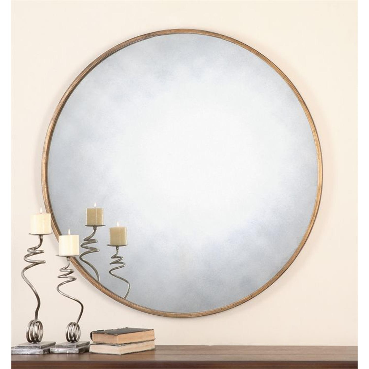 Junius Round Gold Round Mirror Uttermost Wall Mirror Mirrors Home Throughout Large Round Gold Mirror (Image 5 of 20)