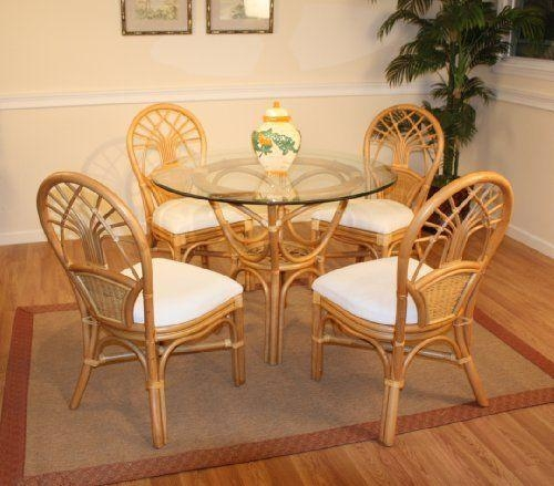 Jupiter Rattan Dining Set Of Round Table & 4 Chairswicker Within Wicker And Glass Dining Tables (Image 12 of 20)