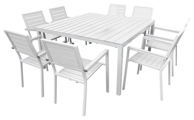 Kade 9 Piece Dining Set – Contemporary – Outdoor Dining Sets – Regarding Outdoor Dining Table And Chairs Sets (Image 9 of 20)