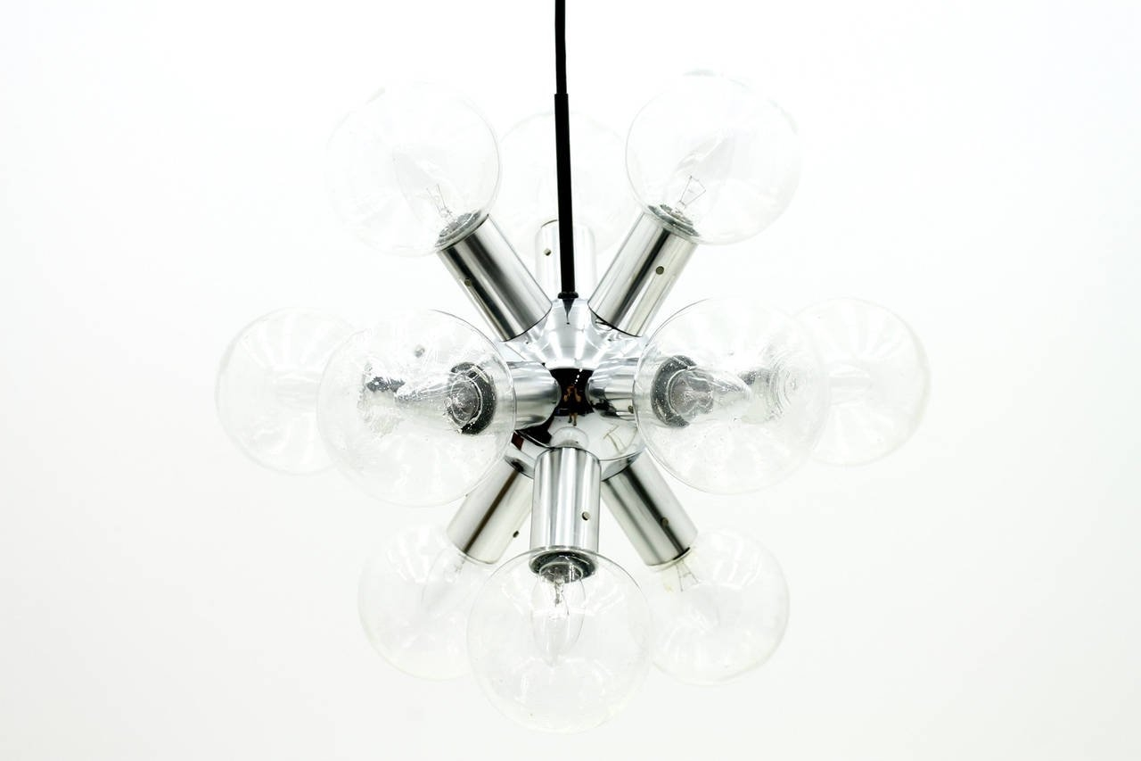Kalmar Sputnik Chandelier Atomic Lamp In Glass And Chrome 1960s Regarding Chrome Sputnik Chandeliers (Image 10 of 25)