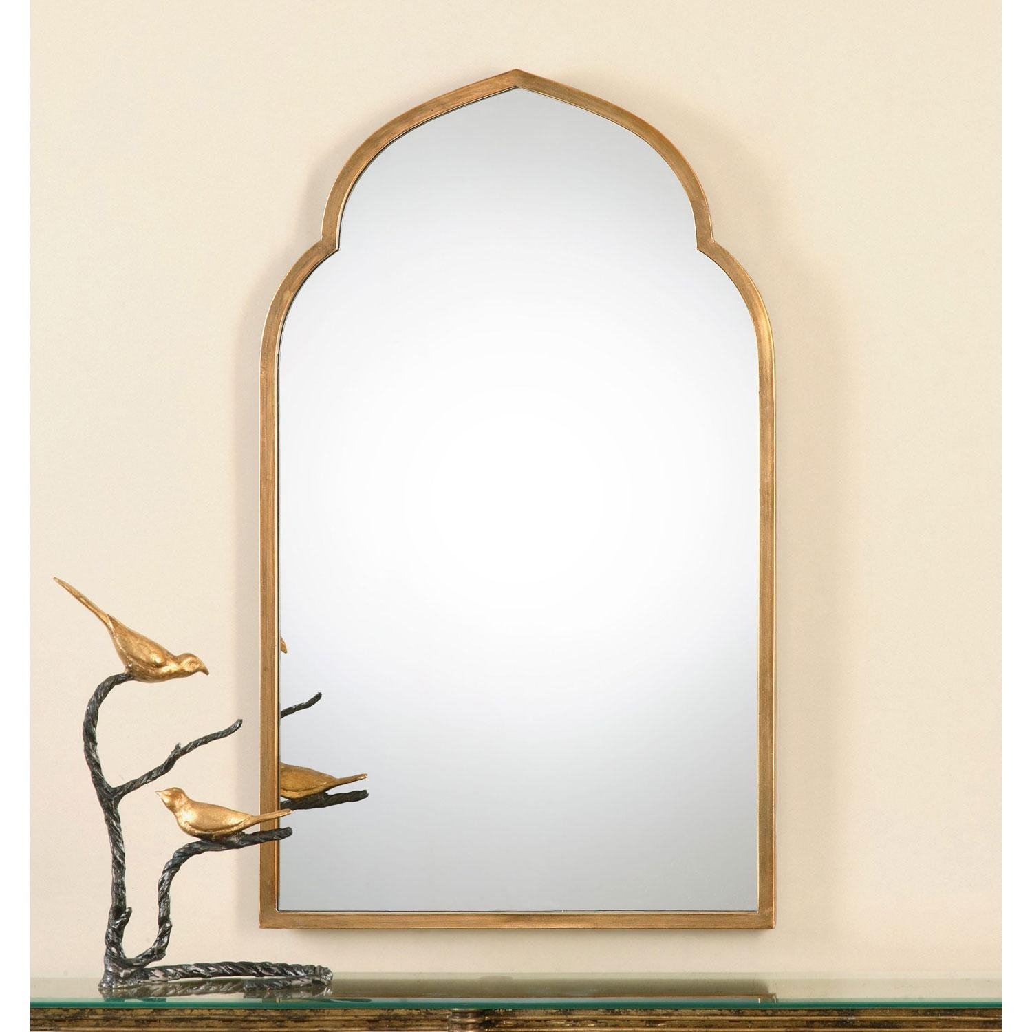 Kenitra Gold Arch Mirror Uttermost Wall Mirror Mirrors Home Decor Within Gold Arch Mirror (Image 11 of 20)