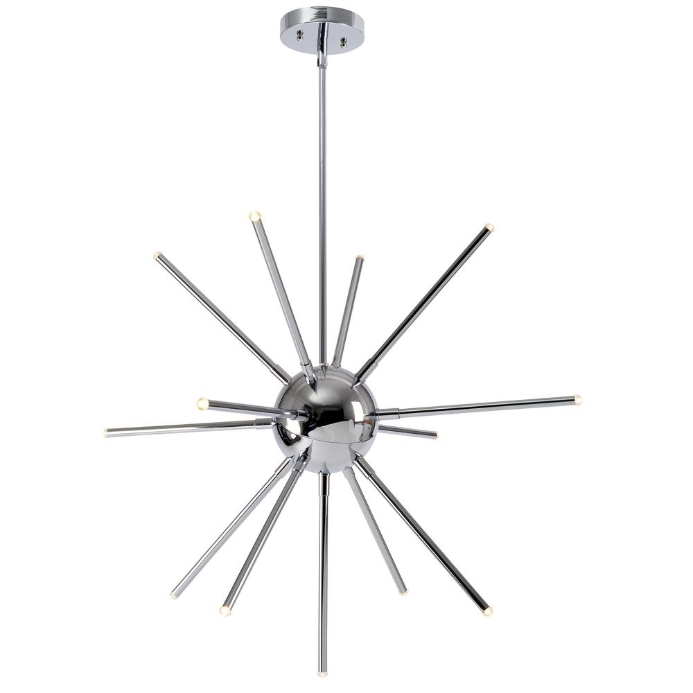 Kenroy Home Atom 91 Watt Chrome Integrated Led Chandelier 93272ch Intended For Atom Chandeliers (Image 9 of 25)