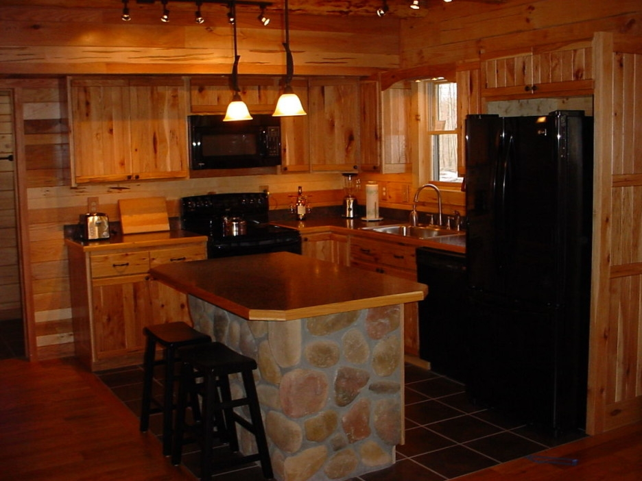Kitchen Cabin Kitchen Design With Light Brown Wooden Kitchen With Regard To Small Rustic Kitchen Chandeliers (Image 15 of 25)