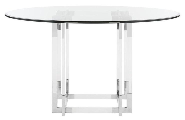Koryn Round Glass Gold Acrylic Dining Table Inside Round Acrylic Dining Tables (Image 15 of 20)