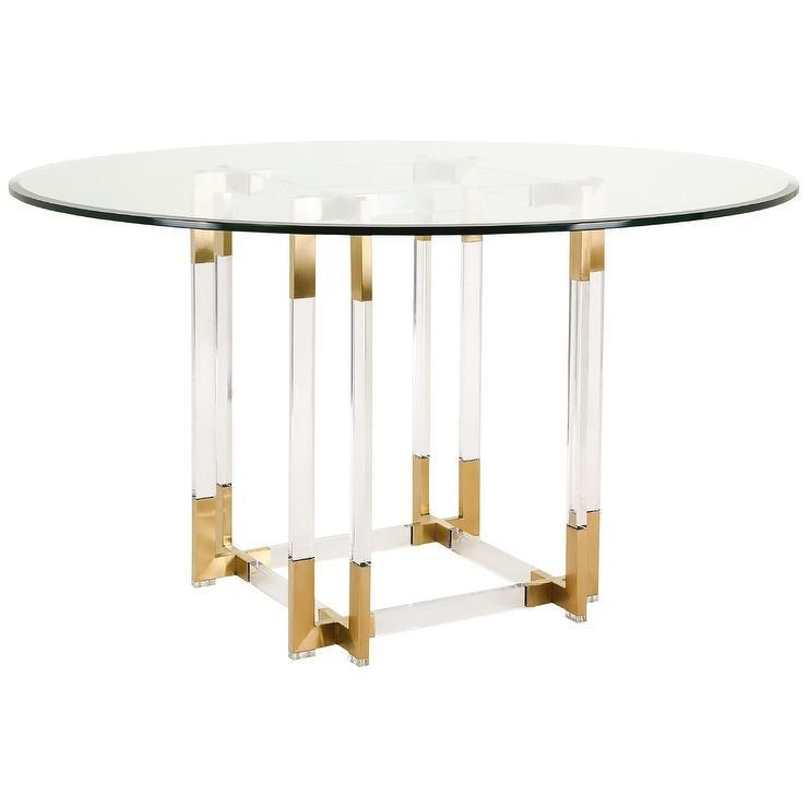 Koryn Round Glass Gold Acrylic Dining Table Pertaining To Round Acrylic Dining Tables (View 9 of 20)